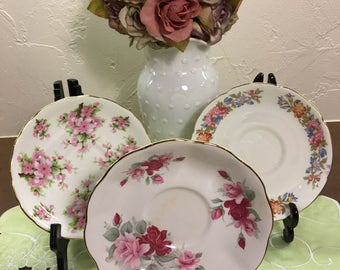 3 Made In England Mismatched Saucers
