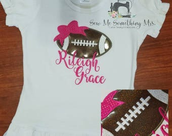 Football with Bow Applique Shirt