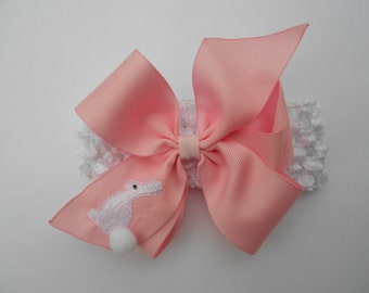 Easter Hair Bow, Boutique Custom, Medium Bunny, Rabbit Preppy, Headband Baby, Embroidered Kids, Ribbons Pink, Hairbows, Peter Smocked
