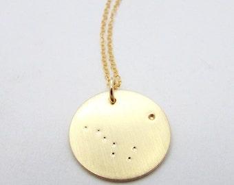 Big Dipper Necklace   Gold Big Dipper Charm Ursa Major   Great Bear   North Star   Polaris Constellation Gold Filled Necklace, E Ria Designs