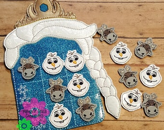 Blue Frozen Princess Tic Tac Toe Travel Game with Pieces, READY TO SHIP, See listing for special discount