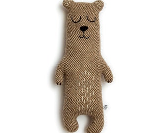 Brian the Bear Knitted Animal Plush Lambswool Soft Toy - In stock