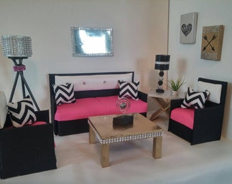Doll Furniture for Barbie / Monster High / Bratz - Living Room Sofa and 2 Accent Chairs - With Chevron Pillows