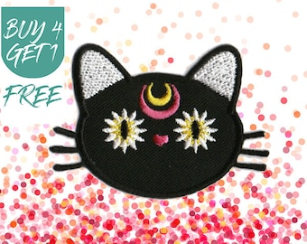 Daisy Patches Black Cat Patch Iron On Patch Embroidered Patch Crescent Kitty