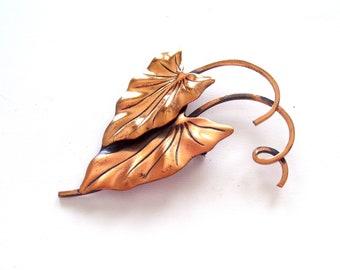 Huge Vintage RENOIR Copper HAWAII Pin Brooch, Tropical Leaf Pin, Vintage Copper Leaf Pin, Renoir Leaf Pin, Leaf Jewelry, Nature Jewelry