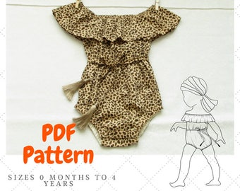 Off the shoulder baby romper pattern,  Baby Romper Pattern, Peasant style baby Romper, Playsuit for baby pattern, Bohemian Romper PDF