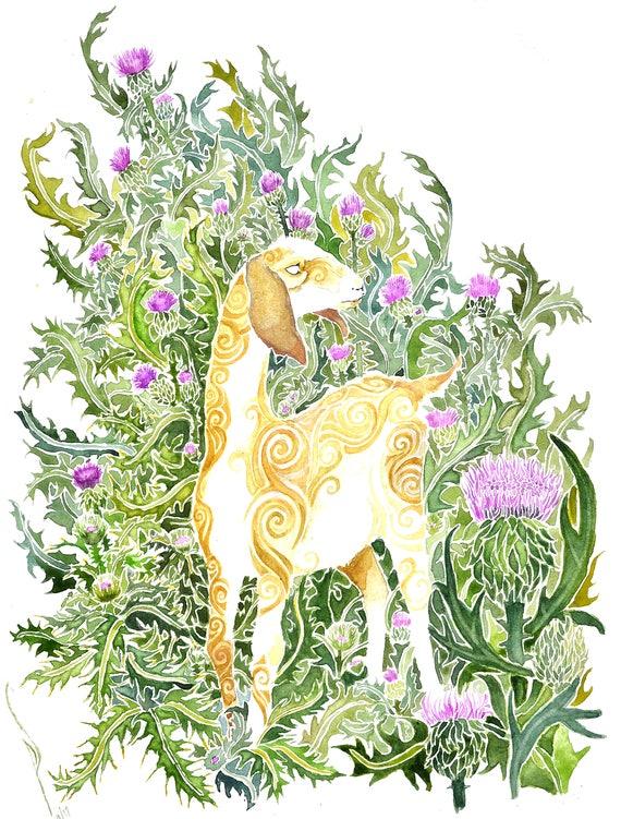 Goat -  PRINT of original watercolor