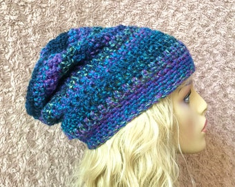 Blues and Greens Slouchy Crochet Hat