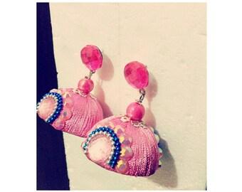 Pink jhumkas with rhinestones