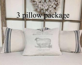 French Grain Sack Pillow Set, Grain Sack Pillow Set, Grain Sack Pillows, French Grain Sack Pillows, Farmhouse Pillows, Decorative Pillows,