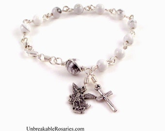 Rosary Bracelet Saint Michael The Archangel In White Magnesite by Unbreakable Rosaries