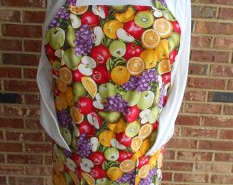 Plus Size Apron, Women's Full Apron, Fresh Fruit Apron, Kitchen Apron, Bib Apron, Pocket Apron, Hostess Gift, Apple Apron, Teacher Gift