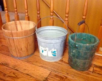 Vintage Trio of Wooden Metal Flower Garden Pots Decor
