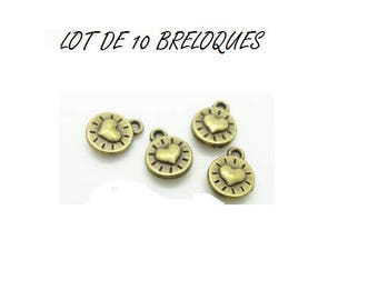set of 10 small minimalist heart charms (T08) bronze