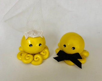 Octopus Wedding Couple Cake Topper Custom Color Set of Two  Bride and Groom Shown in Yellow and Pearl Swirl