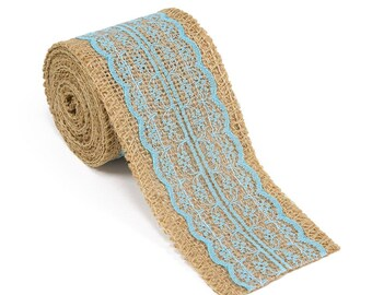 """2.5"""" Wide x 10 Yards Long Natural Burlap Craft Ribbon with Lace (Jute Ribbon, Burlap Tape, Rustic Decor) with Light Blue Lace"""