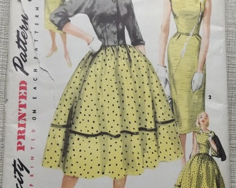 Sheath or Full-Skirted Dress with Two Skirts and Waist Length Jacket in Size 14 Complete Uncut/FF Vintage 50s Simplicity Sewing Pattern 1412