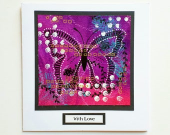 Romantic pink butterfly card, Valentines day, anniversary, love card, hand painted original card