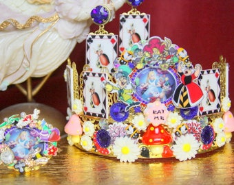 Set Of Unusual Alice In Wonderland Queen Of Hearts Crown Headband +Earrings