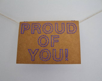 Proud of you!   Hand sewn A6 card