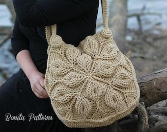 Crochet PATTERN - 3D Embossed Garden Handbag