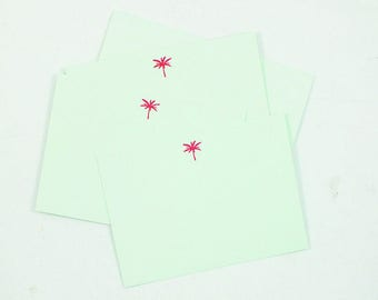 Set of 6 Letterpress Palm Tree Notecards