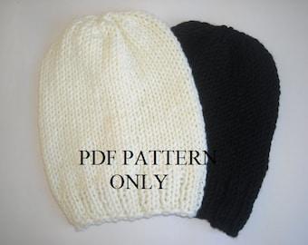 Easy knit beanie pdf  pattern,Knit hat pattern, Beanie pattern ,Pdf pattern for knit slouchy beanie ,easy slouchy beanie pattern