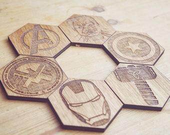 Avengers Inspired Set of 6 Hexagonal Coasters