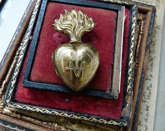 Antique French Petite Sacred Flaming Heart of Mary,  An Alchemical Talisman for the Passionate, offered by RusticGypsyCreations