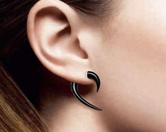 Medium Hooks, Fake Gauges, BOHO, Black Horn, Tribal Earrings, Cheaters, Split, Plugs, Organic, Handmade - H12