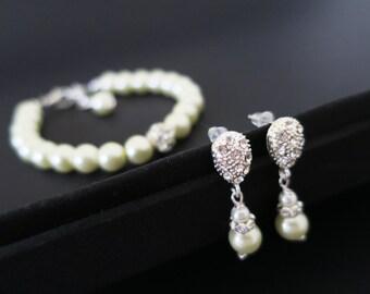 Vintage Inspired Bridal Pearl Jewelry Set Crystal Wedding Earrings Drop Swarovski Pearl Bracelet