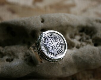 Silver Compass, Wide Silver Band, Solid Silver Ring, Handcrafted Ring, Sterling Silver Ring