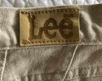Vintage Lee Rider Beige Jeans Size 14 Petite Made in the USA
