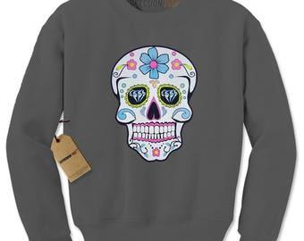 Sugar Skull White Print Dia De Los Muertos Adult Crewneck Sweatshirt