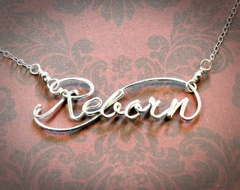 Sterling Silver Reborn Necklace, Word Necklace, Personalized Jewelry, Script necklace, Christian Jewelry, Baptism Necklace, Easter Jewelry