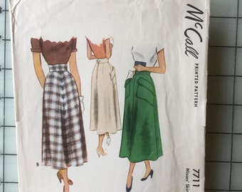 1949 McCall's 7711 Misses' Skirt Size 26 - Cut, But Complete