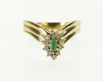 10k Emerald Diamond Oval Accented Chevron Pointed Ring Gold
