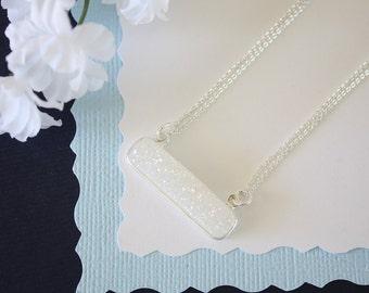 Rainbow Druzy Necklace, Crystal Necklace, Thin Druzy Pendant, Sideways Druzy, Silver, White Druzy, Frost Pendant,  Natural Stone, DRZY5