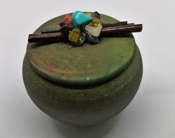Miniature Raku Studio Art Pottery Dream Catcher Jar with Gemstone Lid by Jeremy Dill, Lovely hand thrown Iridescent Matte Finish