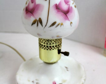 "vintage white floral electric lamp 9.5"" indoor lighting hand painted glass table lamp"