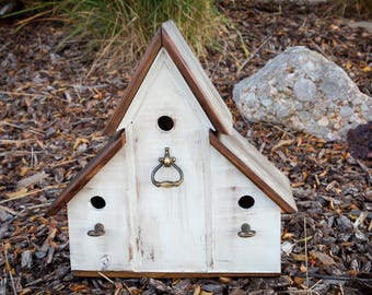 Rustic Outdoor Country Triplex Birdhouse with antiqued brass accents