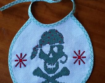 Skull Pirate baby bib