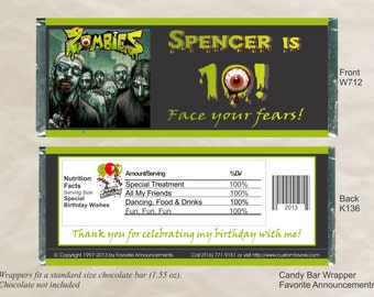Zombie Birthday, Birthday Favors, Zombie Wedding, Zombie Party, Halloween Favors, Candy Bars, Party Favors (Set of 12) (W712)