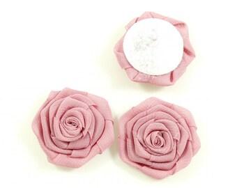 Set of 3 flowers diameter 4.5 cm - old pink