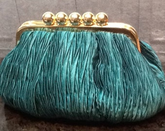 Vintage Carla Marchi Emerald Green Satin Purse/Handbag