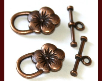 10 sets of Antiqued Copper flower clasps 22X14mm