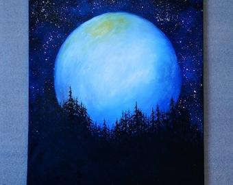 Original Oil Fantasy Space Landscape Painting Wall decor Office decor Moonlight  Night Sky *Full Moon*