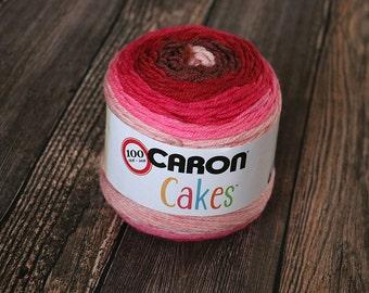 Caron Cakes Yarn - Cherry Chip - Wool Yarn - Self-striping yarn - Michael's exclusive yarn - Skein of Caron Cake Yarn