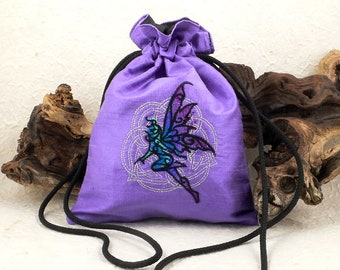 Celtic Fairy Embroidered Lavender Purple Silk Dupion Drawstring Tarot Bag