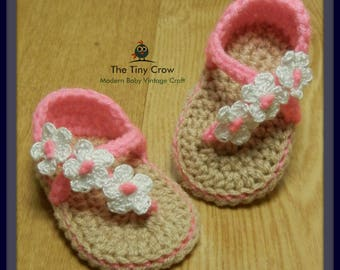 Carefree Sandals, Baby Girl Sandals, Summer Sandals, Baby Sandals, Crochet Baby, TwoGirlsPatterns, Baby Gift, Baby Shower, Trendy Baby